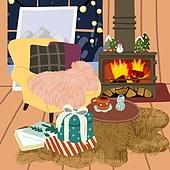 겨울, 실내, 인테리어, 데코르 (가정장비), 북부유럽 (서부유럽), 크리스마스 (국경일)