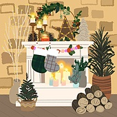 겨울, 실내, 인테리어, 데코르 (가정장비), 북부유럽 (서부유럽), 크리스마스 (국경일), 장작더미, 벽난로, 크리스마스트리 (크리스마스데코레이션)