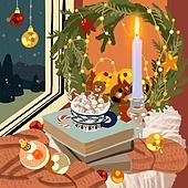 겨울, 실내, 인테리어, 데코르 (가정장비), 북부유럽 (서부유럽), 크리스마스 (국경일), 촛대받침 (데코르), 크리스마스트리 (크리스마스데코레이션), 머그잔 (컵)