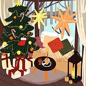 겨울, 실내, 인테리어, 데코르 (가정장비), 북부유럽 (서부유럽), 크리스마스 (국경일), 크리스마스트리 (크리스마스데코레이션), 선물 (인조물건), 소파