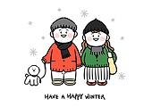 캐릭터, 겨울, 크리스마스 (국경일), 눈송이, 상업이벤트 (사건), 커플, 비숑프리제 (순종개), 걷기 (물리적활동)