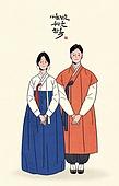 한복, 전통문화 (주제), 한국전통, 새해 (홀리데이), 명절 (한국문화), 여성 (성별), 커플, 부부