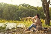 가을 (계절), 감성, 여성, 소풍 (아웃도어), 휴식 (정지활동)