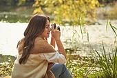가을 (계절), 감성, 여성, 소풍 (아웃도어), 휴식 (정지활동), 카메라, 취미, 사진촬영 (촬영)