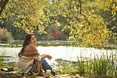 가을 (계절), 감성, 여성, 소풍 (아웃도어), 휴식 (정지활동), 휴가 (주제)