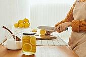 레몬청, 홈메이드, 만들기, 비타민C, 감기, 예방 (컨셉), 썰기