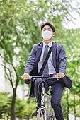 코로나바이러스 (바이러스), 코로나19 (코로나바이러스), 마스크 (방호용품), 출퇴근 (여행하기), 자전거, 자전거도로 (로드마킹)