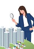 부동산, 주택문제, 주거건물 (건설물), 아파트, 아파트청약 (청약), 돋보기 (광학기기)