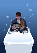 부동산규제 (부동산), 주택문제, 주택문제 (사회이슈), 사회이슈, 욕조, 집, 남성 (성별)