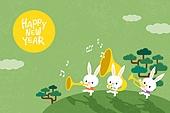 새해 (홀리데이), 십이지신 (컨셉심볼), 캐릭터, 동물, 2021년, 연하장 (축하카드), 보름달, 토끼띠해 (십이지신)