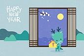 새해 (홀리데이), 십이지신 (컨셉심볼), 캐릭터, 동물, 2021년, 연하장 (축하카드), 용띠해 (십이지신), 보름달, 선물 (인조물건)