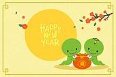 새해 (홀리데이), 십이지신 (컨셉심볼), 캐릭터, 동물, 2021년, 연하장 (축하카드), 뱀띠해 (십이지신), 보름달, 복주머니 (한국문화)