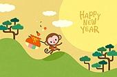 새해 (홀리데이), 십이지신 (컨셉심볼), 캐릭터, 동물, 2021년, 연하장 (축하카드), 원숭이띠해 (십이지신), 복주머니 (한국문화), 보름달