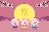새해 (홀리데이), 십이지신 (컨셉심볼), 캐릭터, 동물, 2021년, 연하장 (축하카드), 돼지 (발굽포유류), 돼지띠해 (십이지신), 매화꽃 (화목류), 보름달