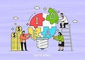 비즈니스, 화이트칼라 (전문직), 비즈니스맨, 비즈니스우먼, 팀워크, 협력 (컨셉), 아이디어, 전구 (전등빛), 화폐기호