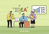 비즈니스, 화이트칼라 (전문직), 비즈니스맨, 비즈니스우먼, 팀워크, 협력 (컨셉), 아이디어, 금융, 칠판, 그래프