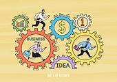 비즈니스, 화이트칼라 (전문직), 비즈니스맨, 비즈니스우먼, 팀워크, 협력 (컨셉), 아이디어, 금융, 태엽, 달리기 (물리적활동)