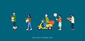 배달 (일), 모바일앱 (인터넷), 사람, 일렬 (배열), 배달부 (직업), 배달음식, 오토바이 (자동차류), 스쿠터