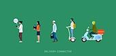 배달 (일), 모바일앱 (인터넷), 사람, 일렬 (배열), 배달부 (직업), 배달음식, 오토바이 (자동차류), 스쿠터, 퀵보드
