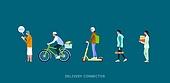 배달 (일), 모바일앱 (인터넷), 사람, 일렬 (배열), 배달부 (직업), 배달음식, 자전거, 퀵보드