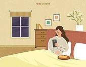 독서, 책, 독서 (읽기), 취미, 겨울, 침실, 침대, 모바일앱 (인터넷), 스마트폰