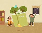 독서, 책, 독서 (읽기), 취미, 겨울, 병아리, 어린이 (나이), 나무