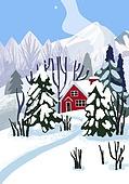 눈 (얼어있는물), 설경, 내리는눈 (눈), 집, 연기 (물리적구조), 숲