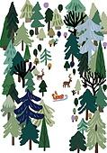 겨울, 눈 (얼어있는물), 설경, 나무, 썰매타기 (겨울스포츠), 사슴 (발굽포유류), 숲