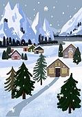 겨울, 눈 (얼어있는물), 설경, 내리는눈 (눈), 풍경 (컨셉), 나무, 집, 밤 (시간대)