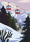 겨울, 눈 (얼어있는물), 설경, 내리는눈 (눈), 풍경 (컨셉), 케이블카, 나무, 언덕
