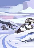 겨울, 눈 (얼어있는물), 설경, 내리는눈 (눈), 풍경 (컨셉), 집, 나무, 구름