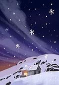 겨울, 눈 (얼어있는물), 설경, 내리는눈 (눈), 풍경 (컨셉), 밤 (시간대), 구름, 집