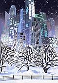 겨울, 눈 (얼어있는물), 설경, 내리는눈 (눈), 풍경 (컨셉), 고층빌딩 (회사건물), 나무, 밤 (시간대)