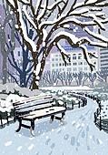 겨울, 눈 (얼어있는물), 설경, 내리는눈 (눈), 풍경 (컨셉), 공원, 벤치