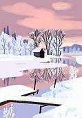겨울, 눈 (얼어있는물), 설경, 내리는눈 (눈), 풍경 (컨셉), 강, 일몰 (땅거미), 구름