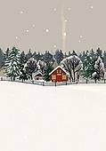 겨울, 눈 (얼어있는물), 설경, 내리는눈 (눈), 풍경 (컨셉), 집, 밤 (시간대), 숲, 연기 (물리적구조)