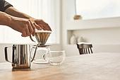 커피 (뜨거운음료), 만들기, 홈메이드, 사람손 (주요신체부분), 커피필터