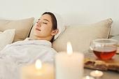 여성, 차 (뜨거운음료), 스파 (인조공간), 잠 (휴식)