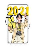 연례행사 (사건), 2021년, 새해 (홀리데이), 휴대폰 (전화기), 프레임, 선물 (인조물건), 웨이빙 (제스처), 윙크