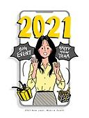 연례행사 (사건), 2021년, 새해 (홀리데이), 휴대폰 (전화기), 프레임, 선물 (인조물건), 말풍선, 캘리그래피 (문자)