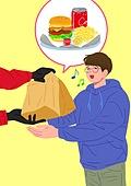 사람, 배달음식, 배달 (일), 집콕 (컨셉), 햄버거, 남성 (성별)