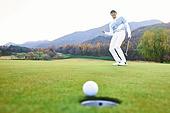 골프, 골프필드, 남성, 퍼팅, 골프홀, 성취 (성공)
