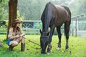 말 (발굽포유류), 숲, 여성, 반려동물, 경주마 (말)