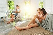 가족, 재택근무, 사회적거리두기 (사회이슈), 함께함 (컨셉)