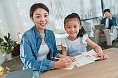 가족, 엄마, 딸, 함께함 (컨셉), 인터넷강의 (인터넷), 공부, 개인레슨 (가르침), 교육 (주제)