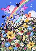 꽃, 비현실 (기묘함), 백그라운드 (주제), 풍경 (컨셉), 자연풍경, 꽃밭, 나비