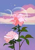 꽃, 비현실 (기묘함), 백그라운드 (주제), 풍경 (컨셉), 자연풍경, 장미