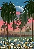 꽃, 비현실 (기묘함), 백그라운드 (주제), 풍경 (컨셉), 자연풍경, 꽃밭, 나무, 야자나무 (열대나무)