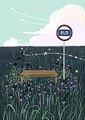 꽃, 비현실 (기묘함), 백그라운드 (주제), 풍경 (컨셉), 자연풍경, 꽃밭, 버스정류장 (인공구조물)