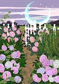 꽃, 비현실 (기묘함), 백그라운드 (주제), 풍경 (컨셉), 자연풍경, 꽃밭, 구름, 초승달